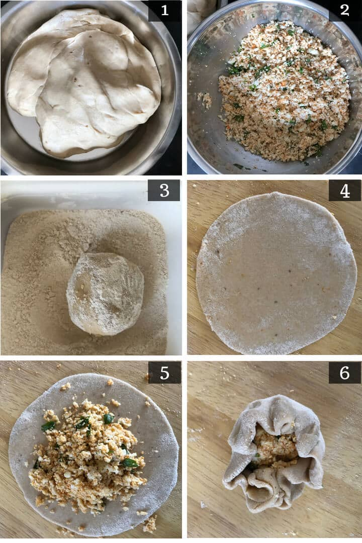 Step by step pics of paneer paratha