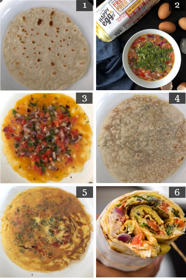 A collage of pictures depicting the step by step process of making egg paratha