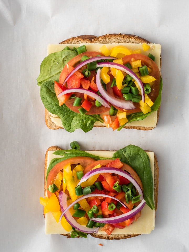 Shows how open-faced sandwich are assembled