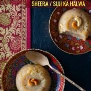 Sheera/Sooji ka halwa served in colorful bowls
