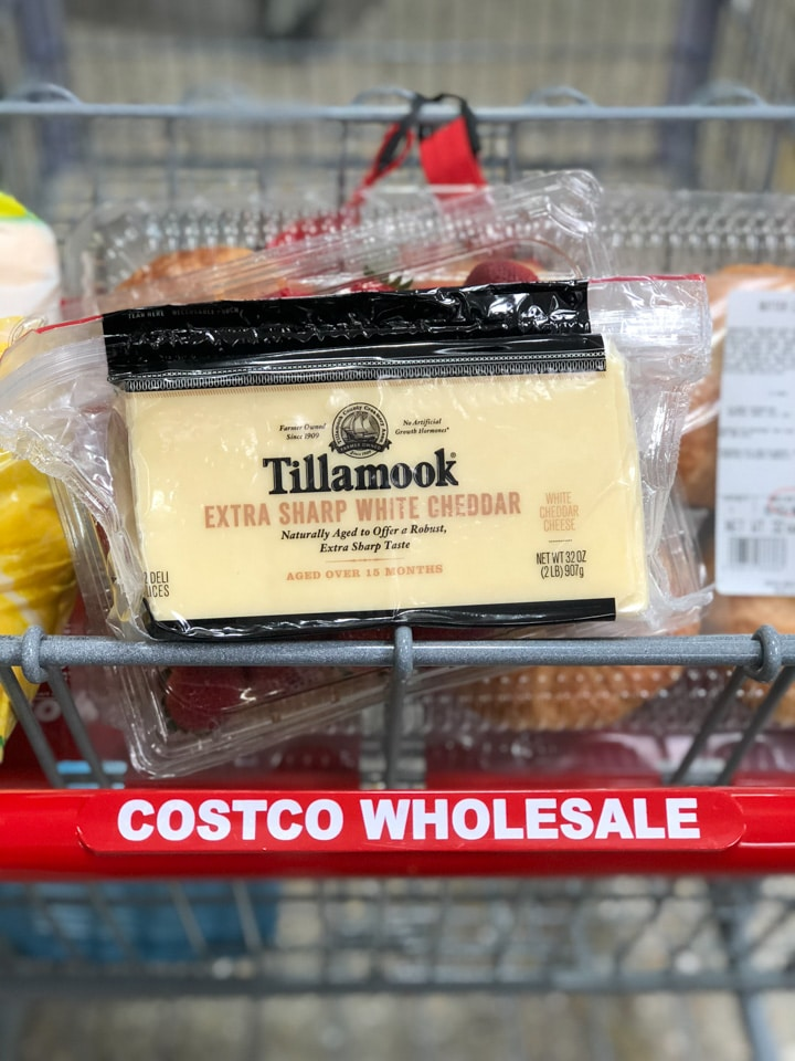Tillamook cheese slices in a Costco cart