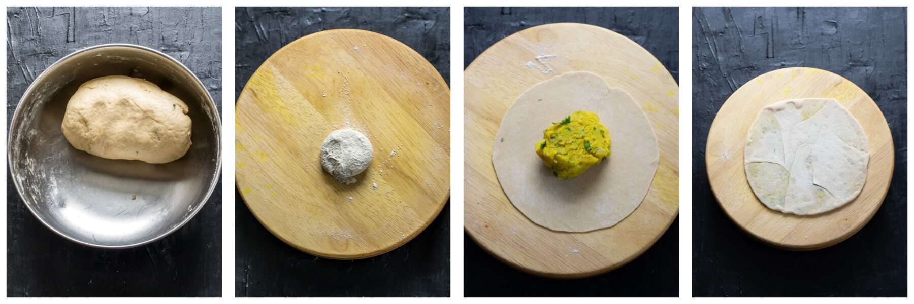 Rolling out aloo paratha