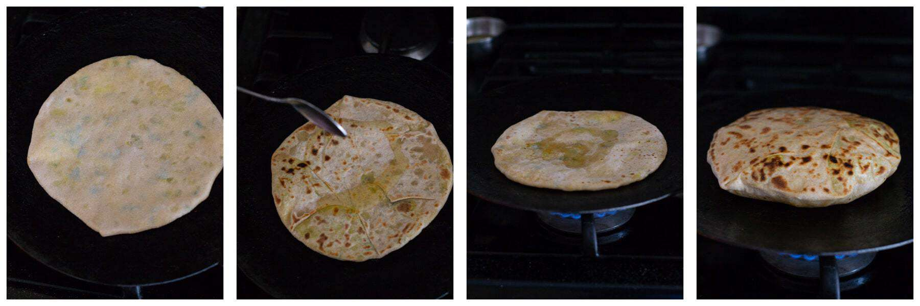 Displays Aloo paratha's cooking process