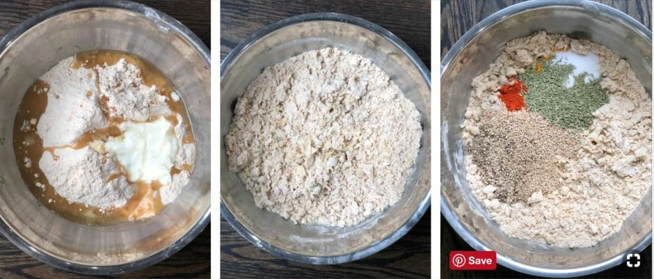 Step by step pictures displays making dough for methi thepla