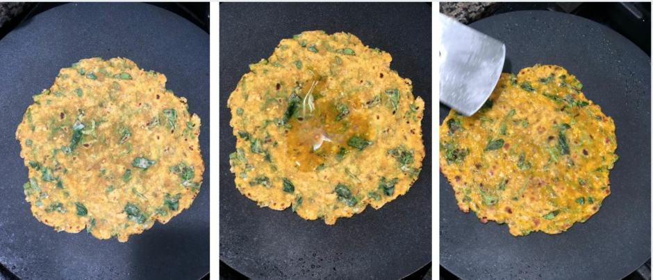 Collage pictures show how to shallow fry methi thepla