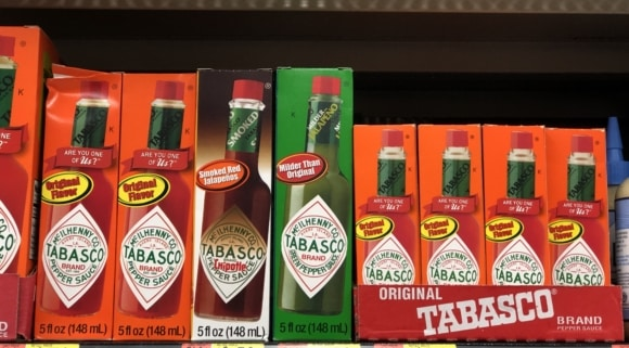 A picture of TABASCO sauce in the aisles of Walmart