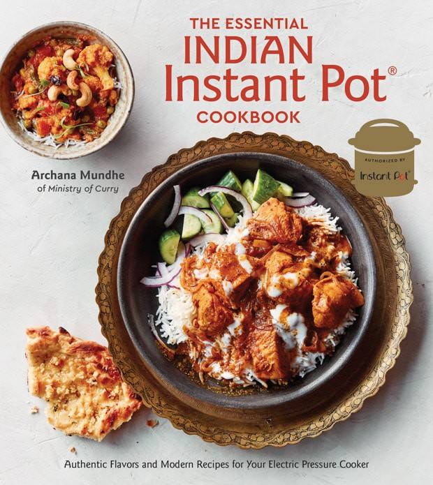 Cover image of Indian Instant Pot Cookbook. Shows a picture of chicken korma served with rice.