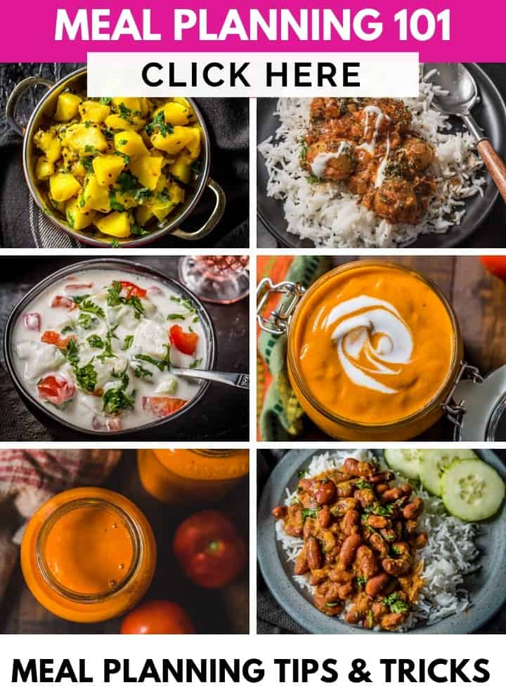 A collage of recipes and a text that reads The Meal Planning Guide - tips for meal planning success