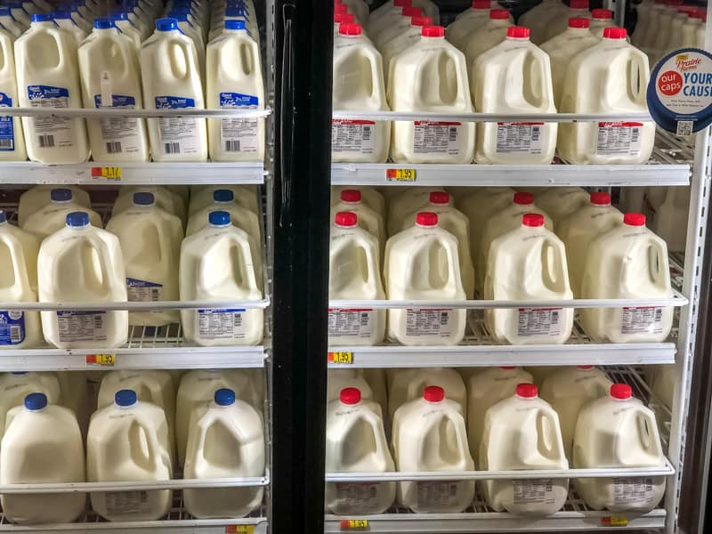 An instore picture of milk aisle in Walmart