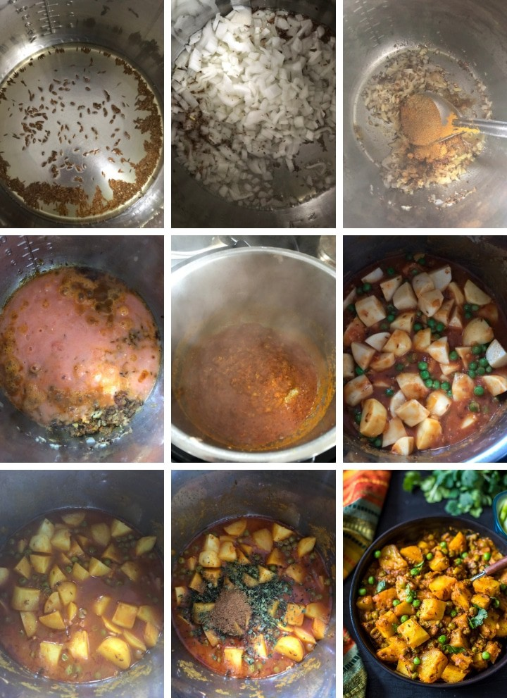 A collage of 9 pictures showing all the steps used in making Aloo matar. The description of the steps can be found below