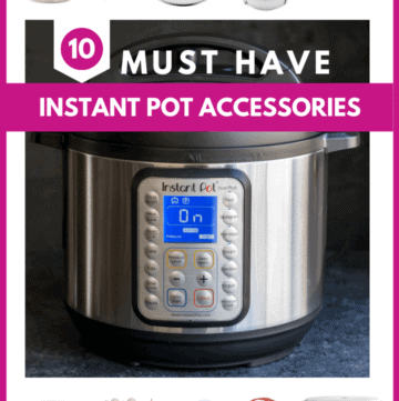 A Picture depicting Instant Pot Duo Plus along with the 10 most useful Instant Pot Accessories
