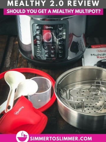 A picture of Mealthy MultiPot and the accessories it comes with - steamer basket, trivet, rice cup, spoons and recipe booklet