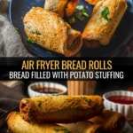 A collage of two images showing Air fryer bread rolls.