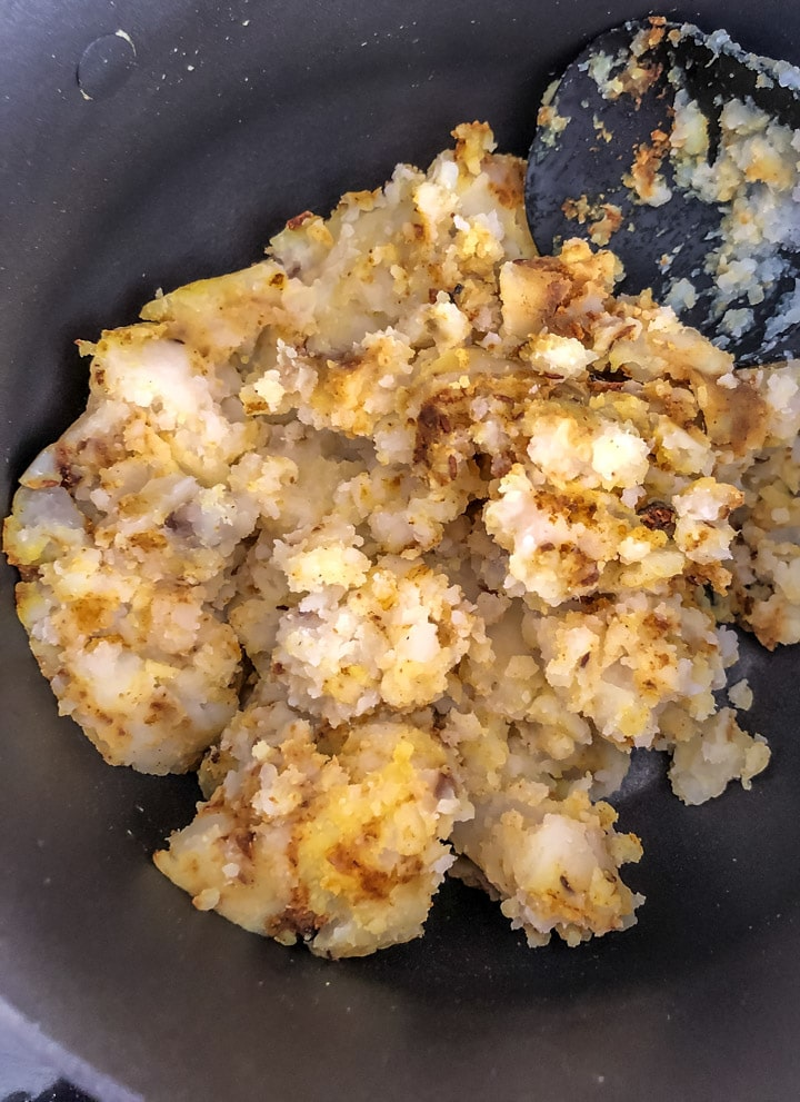 Mashed potatoes added to the spices