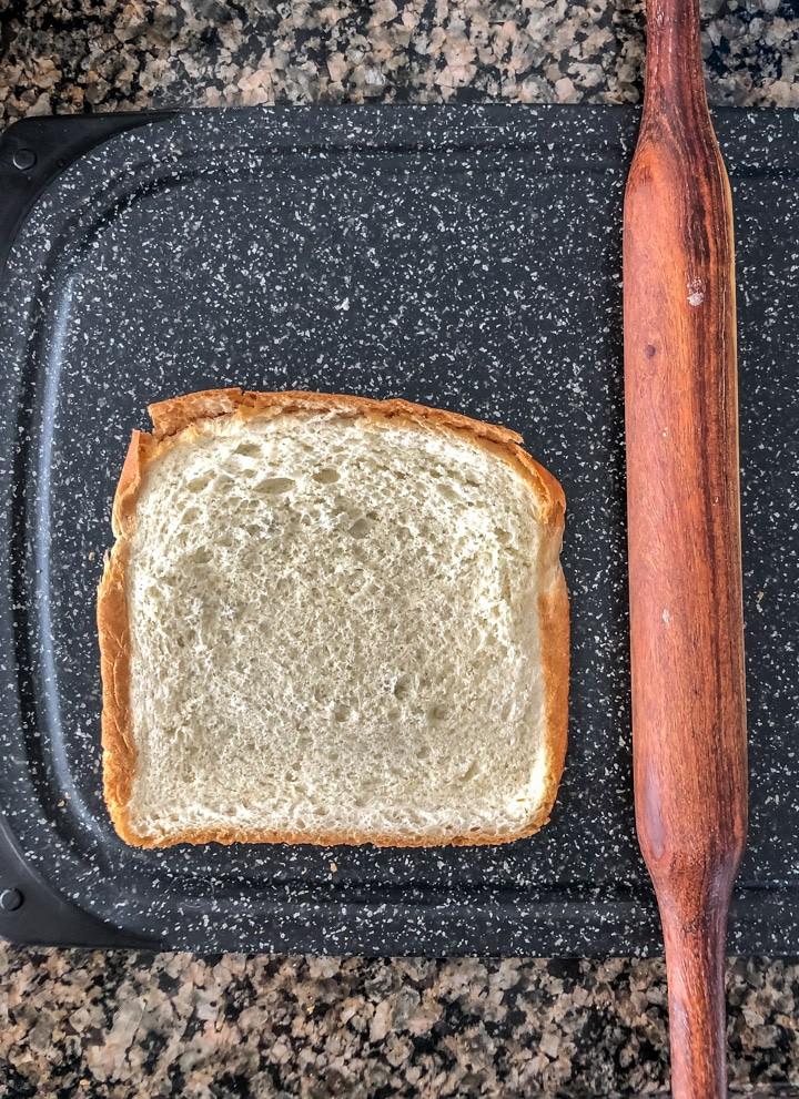 Bread slice flattened using a rolling pin