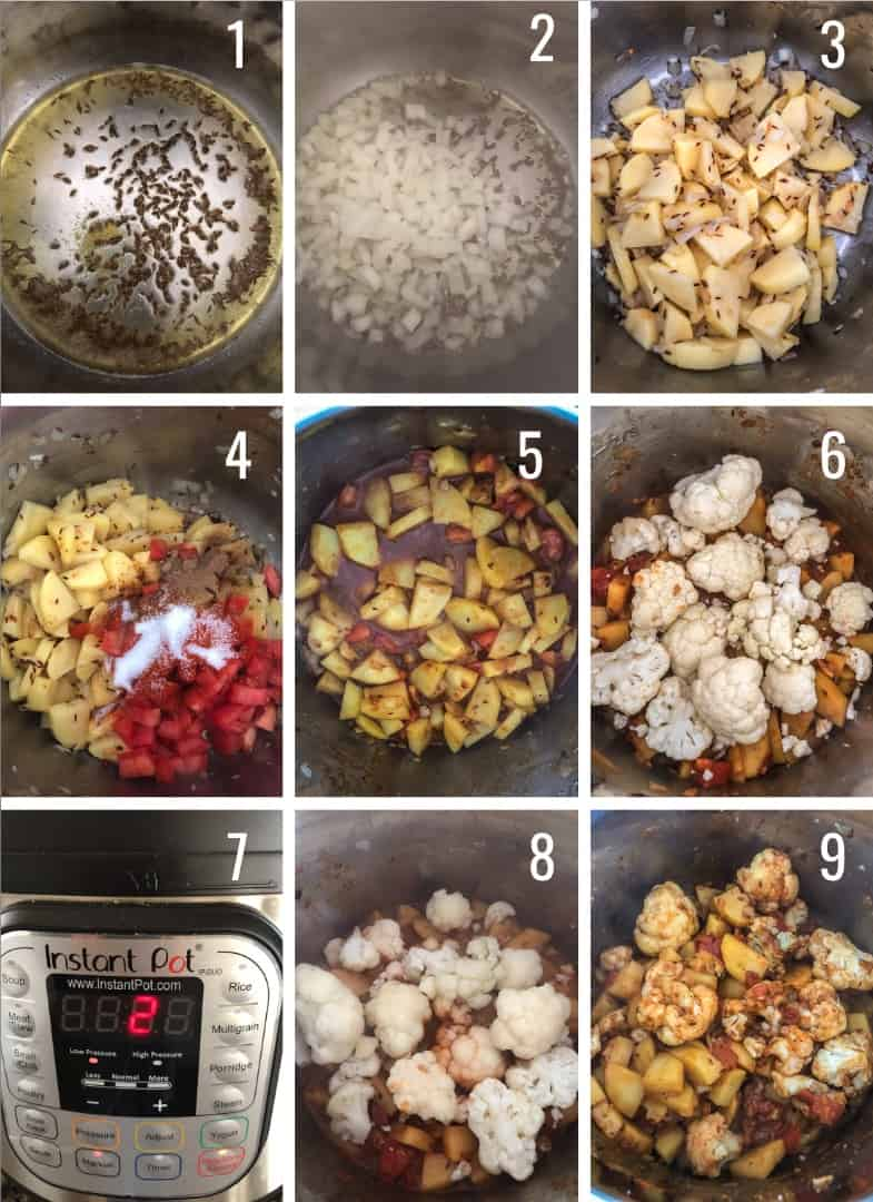 A collage of Aloo Gobi step by step images