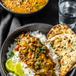 Restaurant style Dal Makhani served with rice and garlic naan