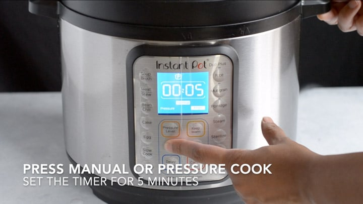 Instant Pot is set to pressure cook for 5 minutes