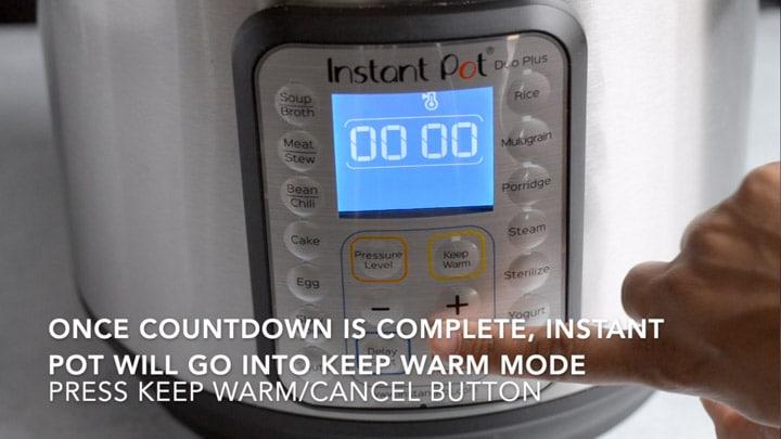 Warm / cancel button is being pressed