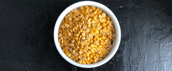 Toor dal in a white bowl