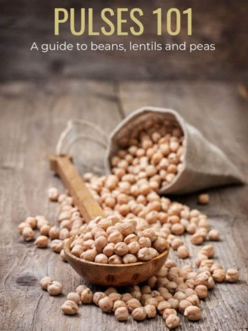 A spoonful of chickpeas and a title which reads Pulse 101 - a guide to beans, lentils and peas