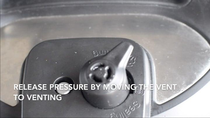Move vent knob to venting