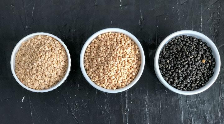 3 varieties of Urad dal in a white bowl