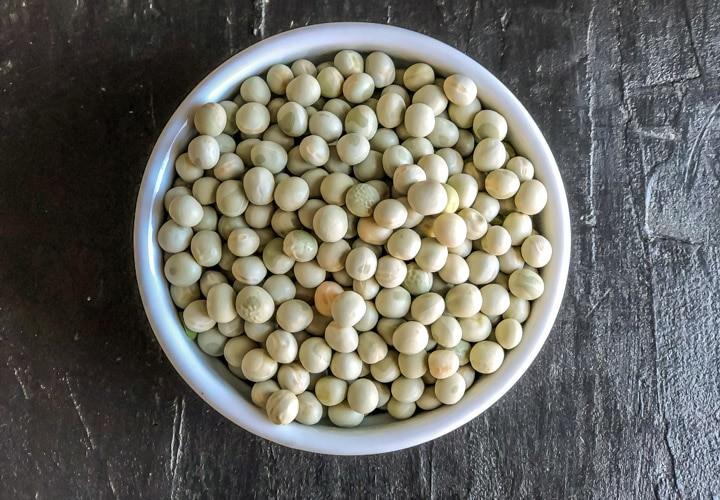 Matar/ Dried Peas in a white bowl