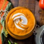 Overhead shot of Tikka Masala Sauce served in glass jar