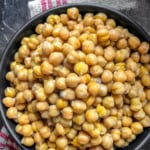 Cooked Chickpeas in a black bowl