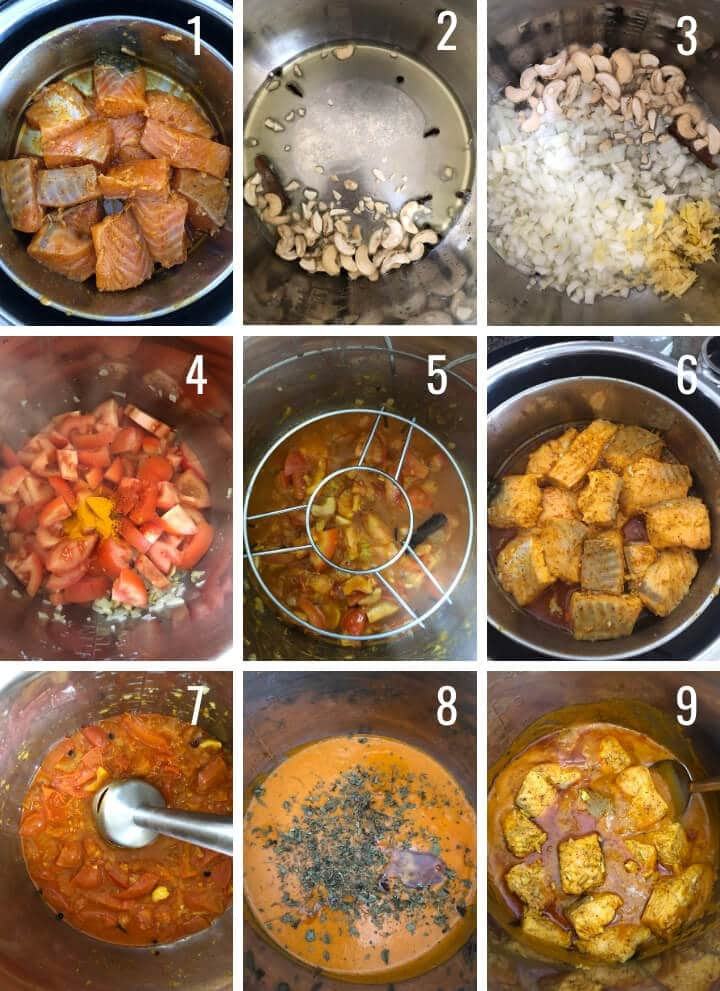 A collage of images depicting how to make salmon tikka masala in Instant Pot.
