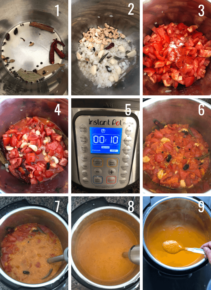A collage of images showing step by step pictures to make Tikka masala using an Instant Pot