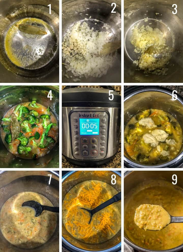 A collage of images showing how to make Broccoli Cheddar soup in an Instant Pot