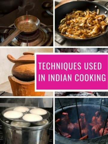 A collage of images showing different techniques used in Indian cooking
