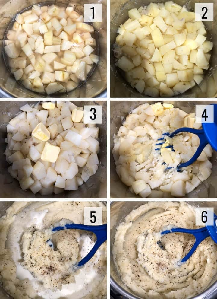 A collage of images depicting steps to make mashed potatoes in Instant Pot