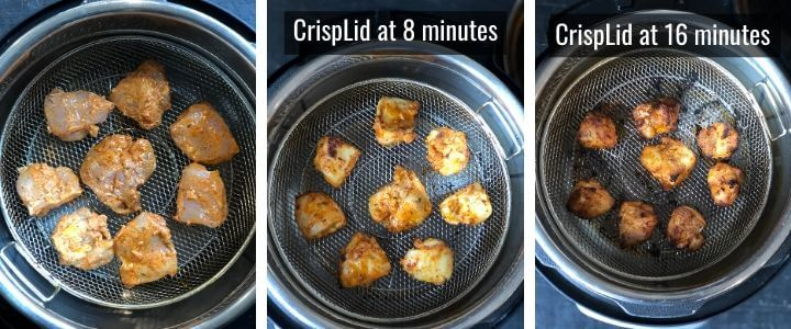 Steps to make Tandoori Chicken Tikka M using Mealthy CrispLid depicted in a collage
