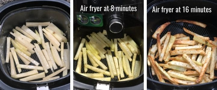 An image collage showing how to air fry French Fries