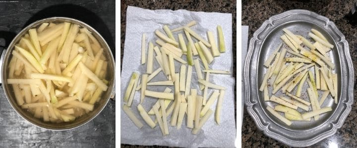 A collage of image showing potatoes chopped into sticks and soaked, the dried and tossed in oil and salt and pepper