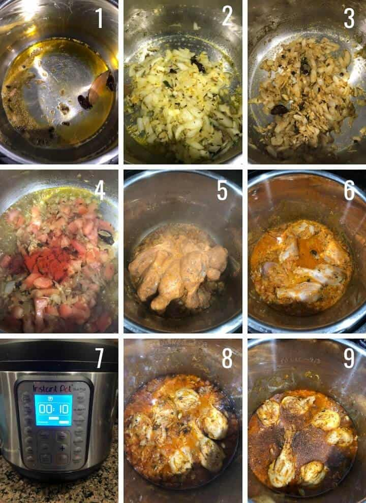 A collage of images depicting how to make Indian chicken curry in Instant Pot