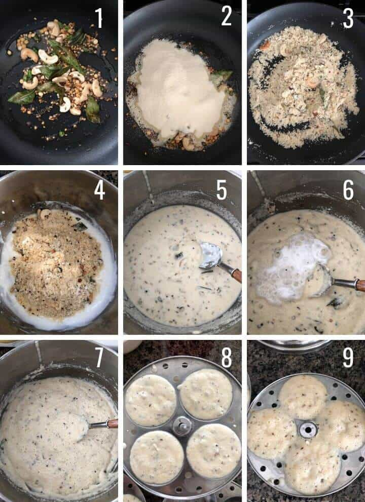 A collage of images showing how to make Rava idli