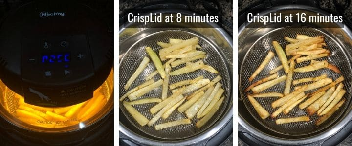 An image collage showing how to air fry French Fries using Mealthy CrispLid