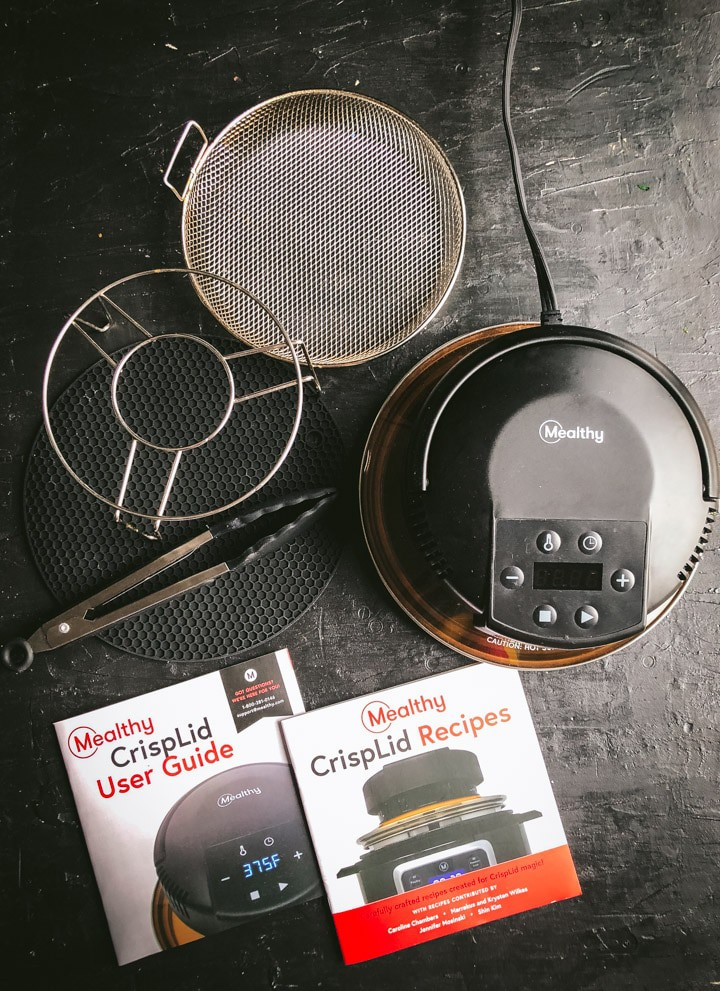 Mealthy CrispLid Box Contents - Trivet, Basket, CrispLid, Tongs, Recipe book, User guide and Silicone Pot Holder