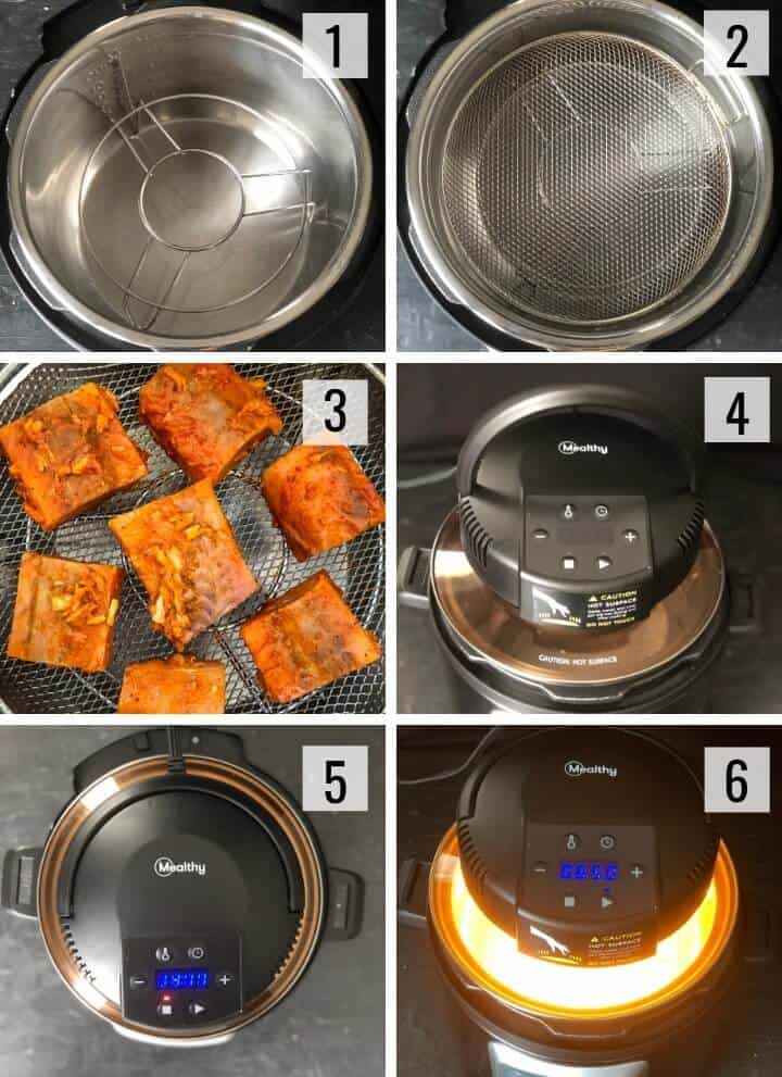 Collage of images showing how to use Mealthy CrispLid