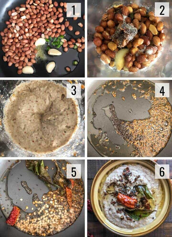 A collage of images showing how to make peanut chutney
