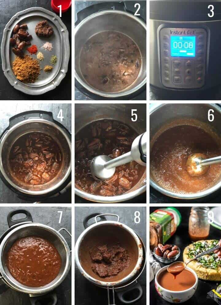 A collage of images depicting step by step images to make tamarind date chutney