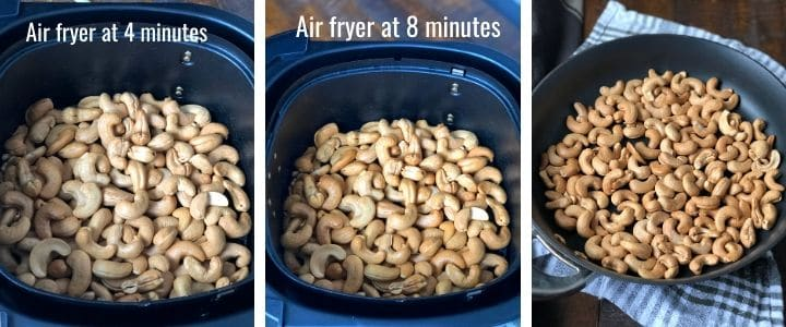 A collage of images showing air fried cashews at 4 minute and 8-minute mark.