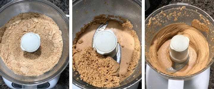 A collage of images depicting different stages while grinding cashew butter