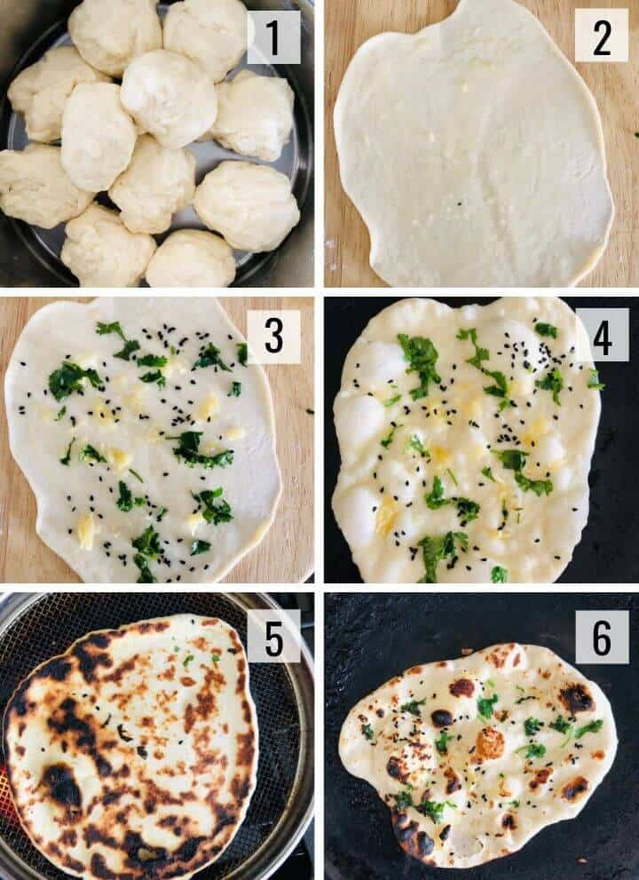 A collage of images showing how to roll and cook naan