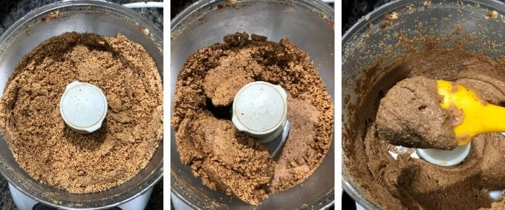 A collage of images showing how to make almond butter using a food processor