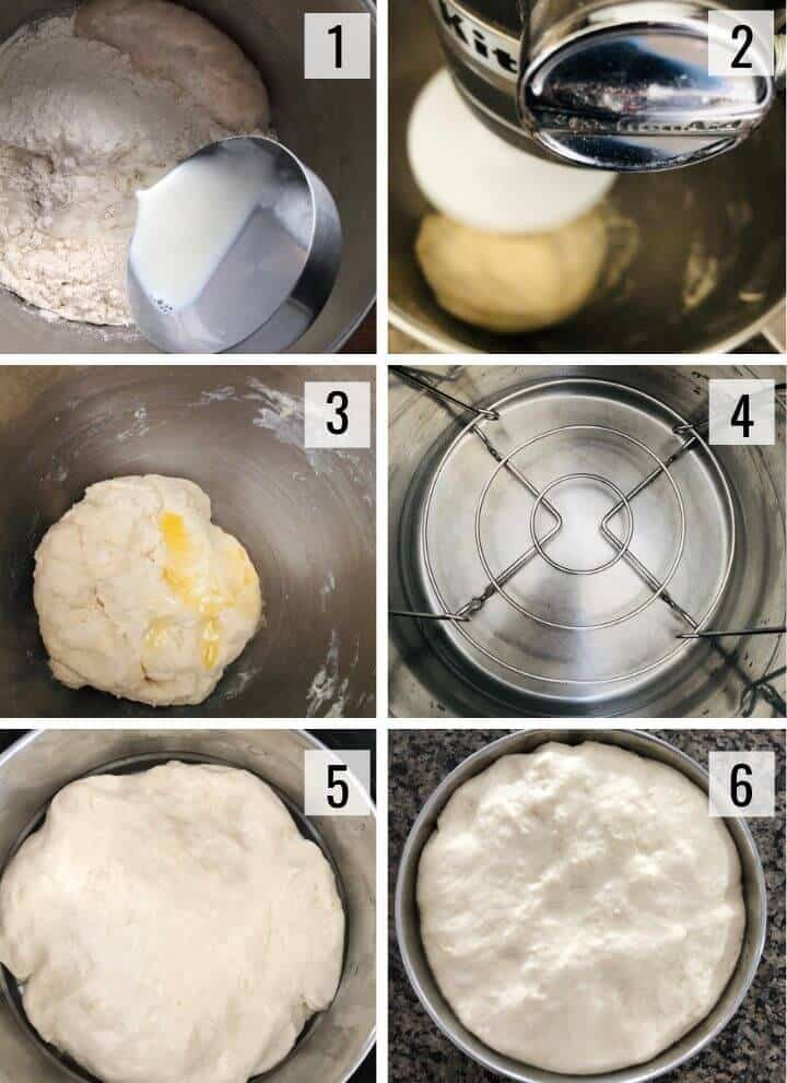 A collage of images showing how to make dough for naan using stand in mixer and Instant Pot